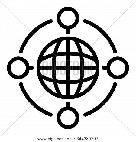 Global Collaboration Icon. Outline Global Collaboration Vector Icon For Web Design Isolated On White