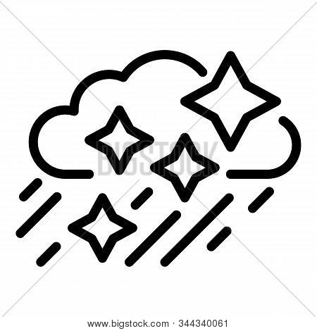 Snow Rainy Cloud Icon. Outline Snow Rainy Cloud Vector Icon For Web Design Isolated On White Backgro