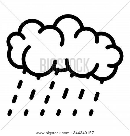 Rainy Cloud Icon. Outline Rainy Cloud Vector Icon For Web Design Isolated On White Background