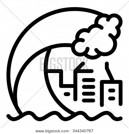 Tsunami Wave City Icon. Outline Tsunami Wave City Vector Icon For Web Design Isolated On White Backg