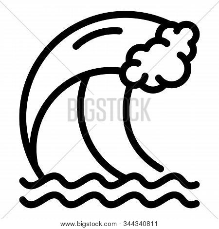 Tsunami Wave Icon. Outline Tsunami Wave Vector Icon For Web Design Isolated On White Background