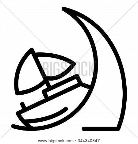 Ship On Tsunami Wave Icon. Outline Ship On Tsunami Wave Vector Icon For Web Design Isolated On White