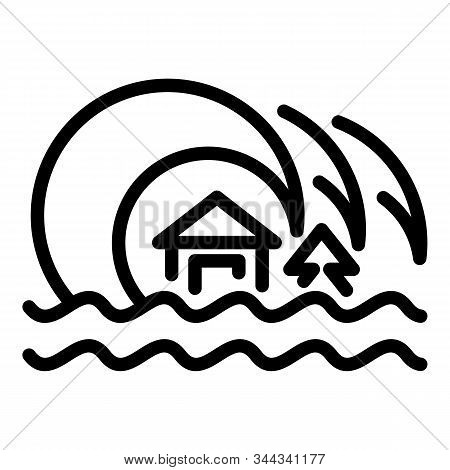 Summer Tsunami Icon. Outline Summer Tsunami Vector Icon For Web Design Isolated On White Background