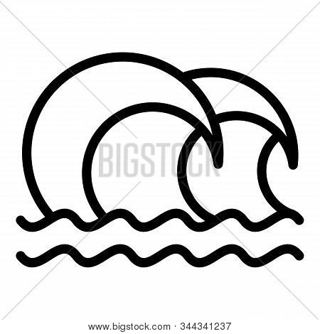 Splashing Tsunami Icon. Outline Splashing Tsunami Vector Icon For Web Design Isolated On White Backg