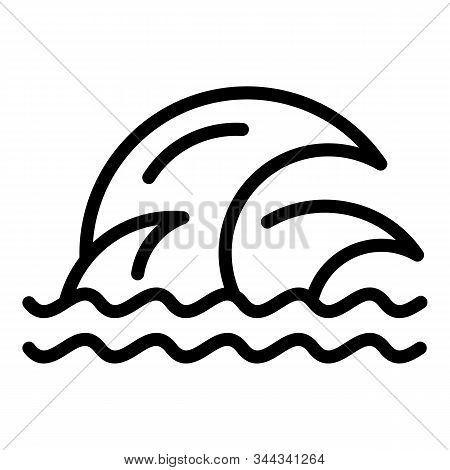 Aqua Tsunami Icon. Outline Aqua Tsunami Vector Icon For Web Design Isolated On White Background