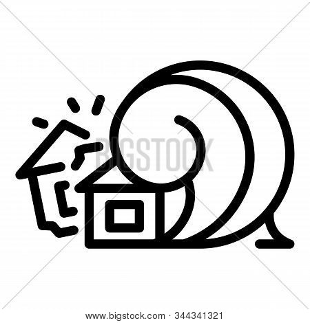Disaster House Tsunami Icon. Outline Disaster House Tsunami Vector Icon For Web Design Isolated On W