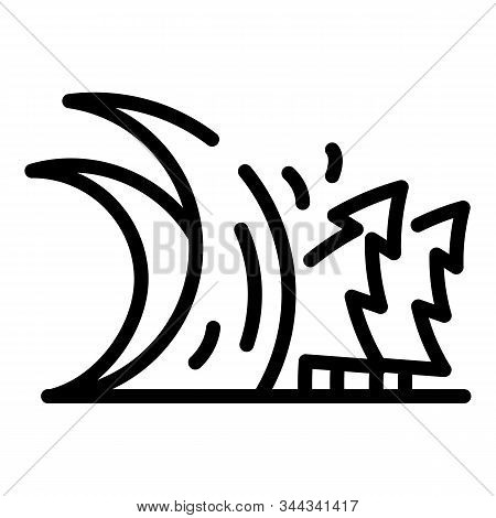 Alarm Tsunami Wave Icon. Outline Alarm Tsunami Wave Vector Icon For Web Design Isolated On White Bac