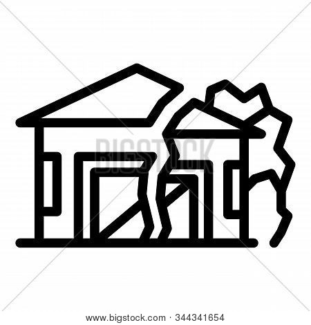 Ground House Erosion Icon. Outline Ground House Erosion Vector Icon For Web Design Isolated On White