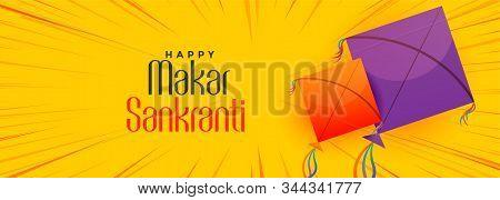Happy Makar Sankranti Festival Of Kites Banner Design