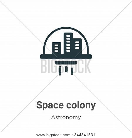 Space Colony Vector Icon On White Background. Flat Vector Space Colony Icon Symbol Sign From Modern
