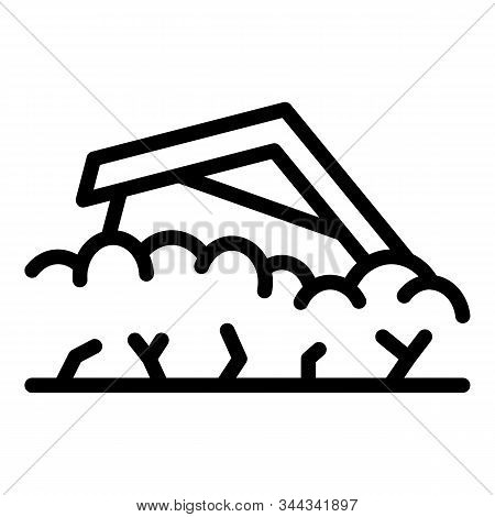 House Ground Collapse Icon. Outline House Ground Collapse Vector Icon For Web Design Isolated On Whi