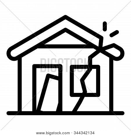 Destroyed House Icon. Outline Destroyed House Vector Icon For Web Design Isolated On White Backgroun