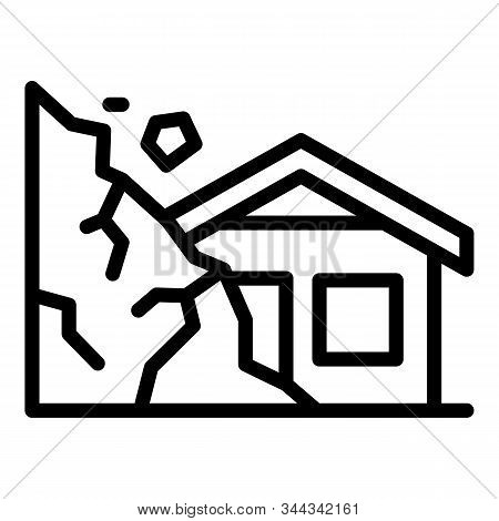 Destroyed Rockfall House Icon. Outline Destroyed Rockfall House Vector Icon For Web Design Isolated