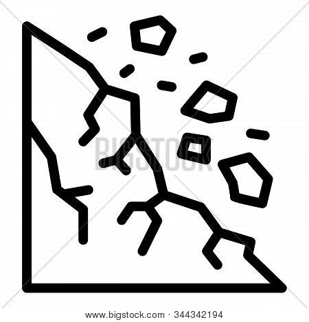 Big Rockfall Icon. Outline Big Rockfall Vector Icon For Web Design Isolated On White Background