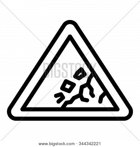 Rockfall Sign Icon. Outline Rockfall Sign Vector Icon For Web Design Isolated On White Background
