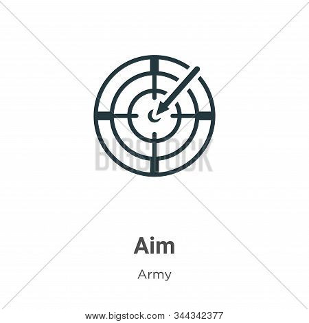 Aim icon isolated on white background from army collection. Aim icon trendy and modern Aim symbol fo