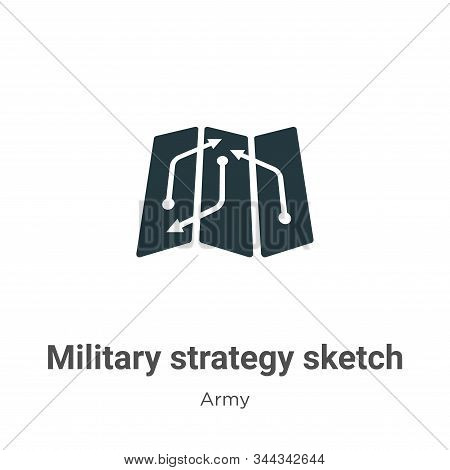 Military Strategy Sketch Vector Icon On White Background. Flat Vector Military Strategy Sketch Icon
