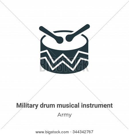 Military drum musical instrument icon isolated on white background from army collection. Military dr
