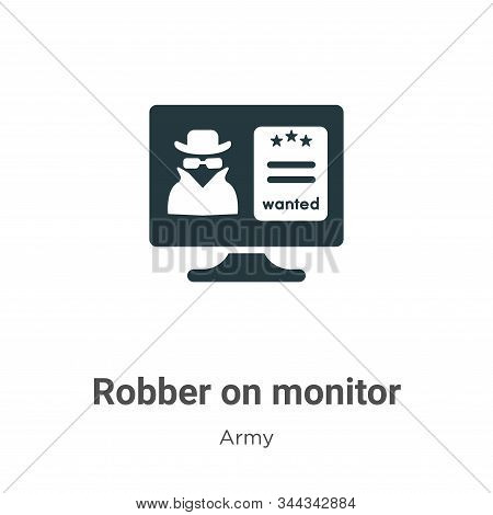 Robber on monitor icon isolated on white background from army collection. Robber on monitor icon tre