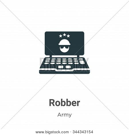 Robber symbol on monitor screen icon isolated on white background from army collection. Robber symbo