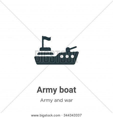 Army Boat Vector Icon On White Background. Flat Vector Army Boat Icon Symbol Sign From Modern Army A
