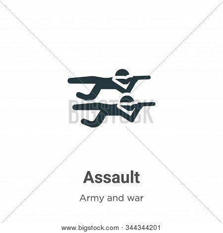 Assault icon isolated on white background from army and war collection. Assault icon trendy and mode