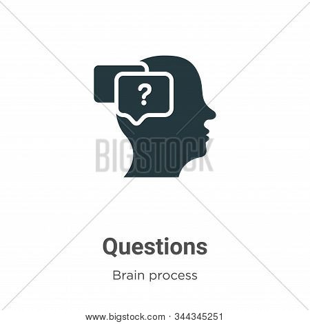 Questions icon isolated on white background from brain process collection. Questions icon trendy and