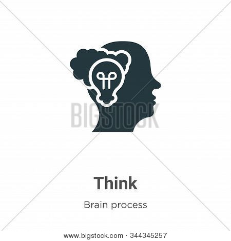 Think icon isolated on white background from brain process collection. Think icon trendy and modern