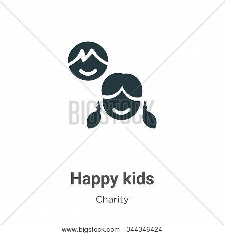 Happy kids icon isolated on white background from charity collection. Happy kids icon trendy and mod