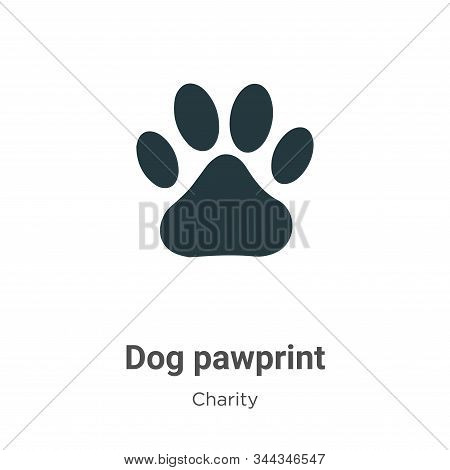 Dog pawprint icon isolated on white background from charity collection. Dog pawprint icon trendy and