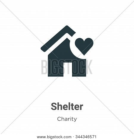 Shelter Vector Icon On White Background. Flat Vector Shelter Icon Symbol Sign From Modern Charity Co