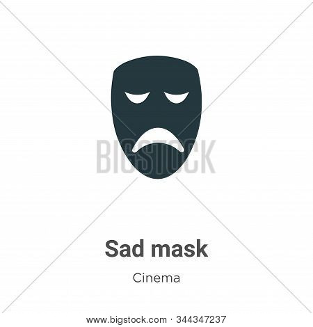 Sad mask icon isolated on white background from cinema collection. Sad mask icon trendy and modern S