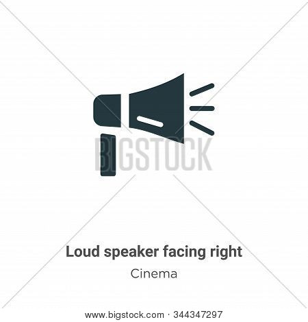 Loud Speaker Facing Right Vector Icon On White Background. Flat Vector Loud Speaker Facing Right Ico