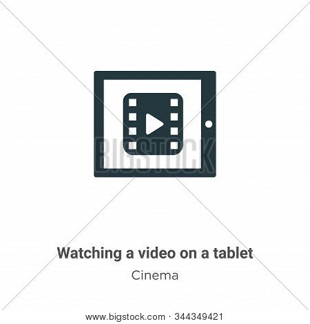 Watching a video on a tablet icon isolated on white background from cinema collection. Watching a vi