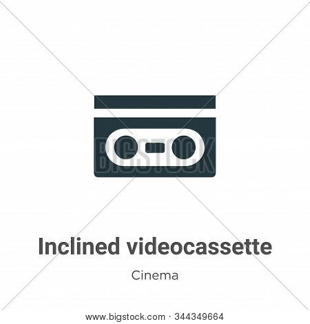 Inclined videocassette icon isolated on white background from cinema collection. Inclined videocasse