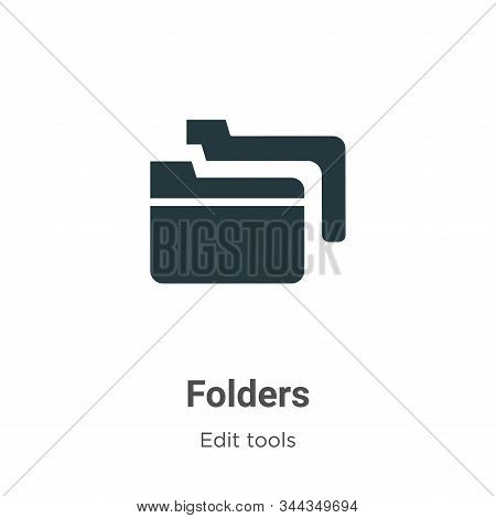 Folders icon isolated on white background from edit tools collection. Folders icon trendy and modern