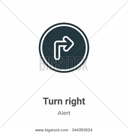 Turn Right Vector Icon On White Background. Flat Vector Turn Right Icon Symbol Sign From Modern Aler