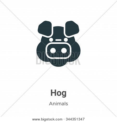 Hog Vector Icon On White Background. Flat Vector Hog Icon Symbol Sign From Modern Animals Collection