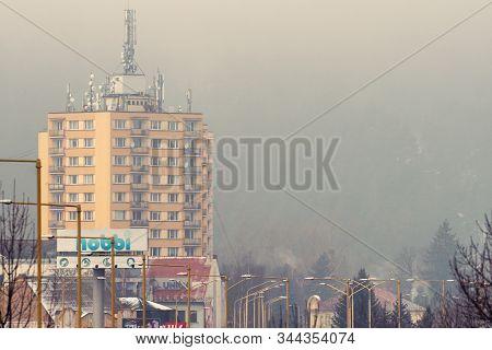 Ruzomberok, Slovakia - January 10:  Smog In The Town On January 10, 2020 In Ruzomberok