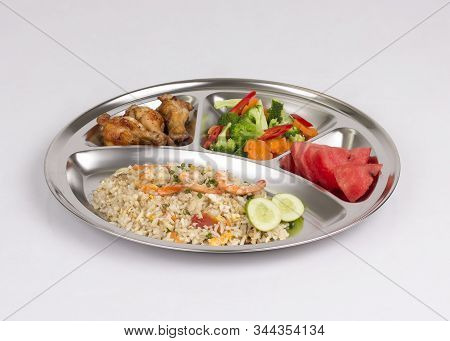 Stainless Steel Food Tray With Food Isolated On White Background