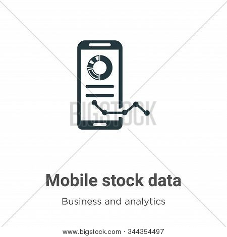 Mobile Stock Data Vector Icon On White Background. Flat Vector Mobile Stock Data Icon Symbol Sign Fr