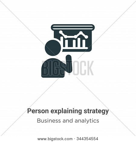 Person Explaining Strategy Vector Icon On White Background. Flat Vector Person Explaining Strategy I