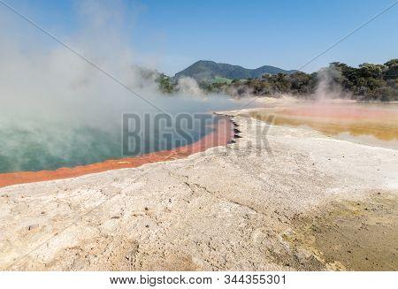 Grey-white Silica Sinter Surrounding The Champagne Pool In Waiotapu Thermal Area Near Rotorua, New Z