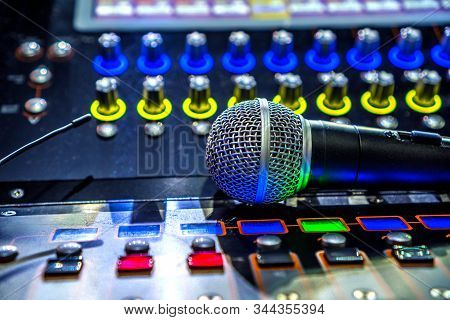 Sound And Music Industry Background. Sound Effects Soundboard And Microphone.