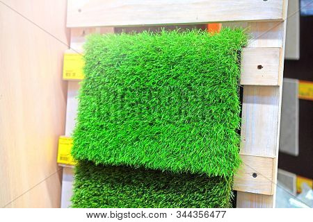 Artificial Grass Sale. Samples Of Artificial Lawn Are On Display.
