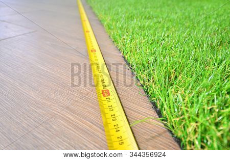Artificial Turf Measuring Indoors Background, Copy Space
