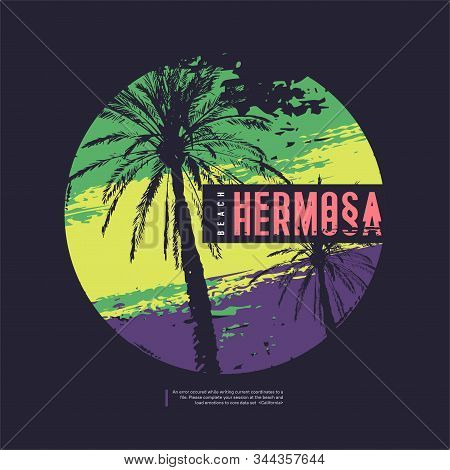 Hermosa California Vector Graphic T-shirt Design, Poster, Print