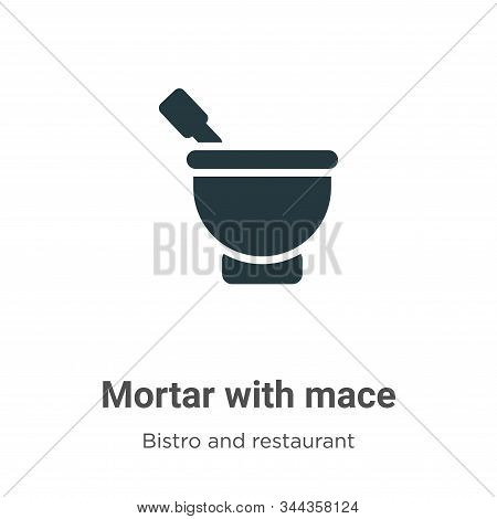 Mortar with mace icon isolated on white background from bistro and restaurant collection. Mortar wit