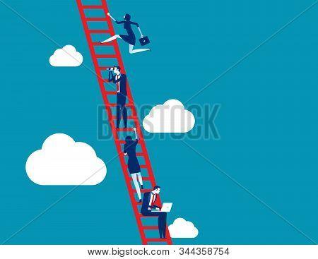 Business Process And Teamwork. Concept Business Vector Illustration, Ladder, Achievement, Aspiration
