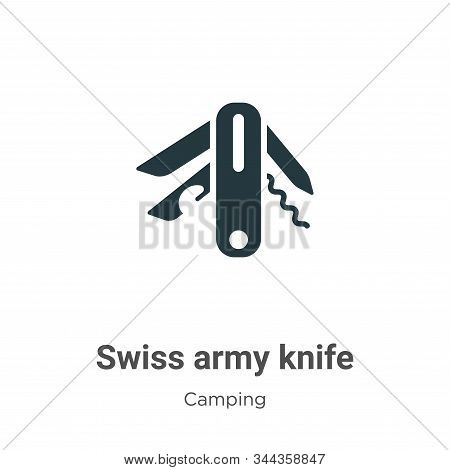 Swiss army knife icon isolated on white background from camping collection. Swiss army knife icon tr